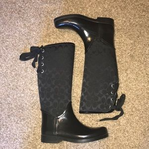 Lace up Coach rain boots